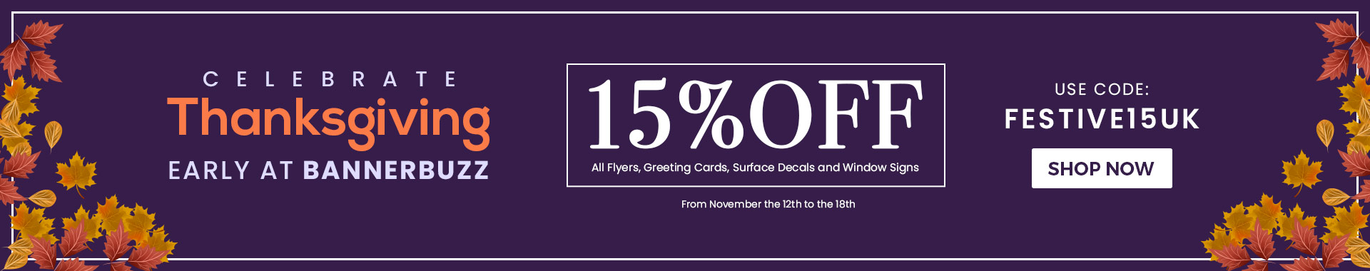 BannerBuzz's Pre-Thanksgiving 15% Off Sale!