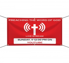 Preaching the Word of God Live stream Vinyl Banners