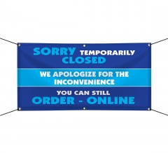 Sorry Temporarily Closed Order Online Vinyl Banners