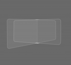 Restaurant Tabletop Desk Divider Sneeze Screen - Clear Acrylic (4 person)