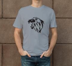 Grey Cotton Printed T-Shirt - Crew Neck