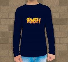Custom Blue Printed Long Sleeves T-Shirt - Crew Neck