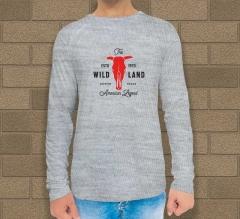 Grey Cotton Printed Long Sleeves T-Shirt - Crew Neck