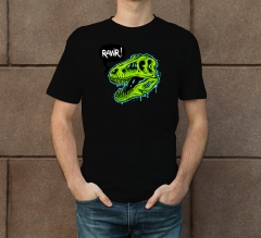 Custom Black Printed T-Shirt - Crew Neck