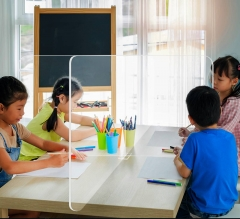 School Tabletop Desk Divider Sneeze Screen - Clear Acrylic (4 person)