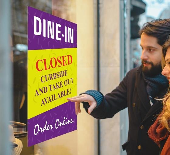 Dine In Closed Window Decals