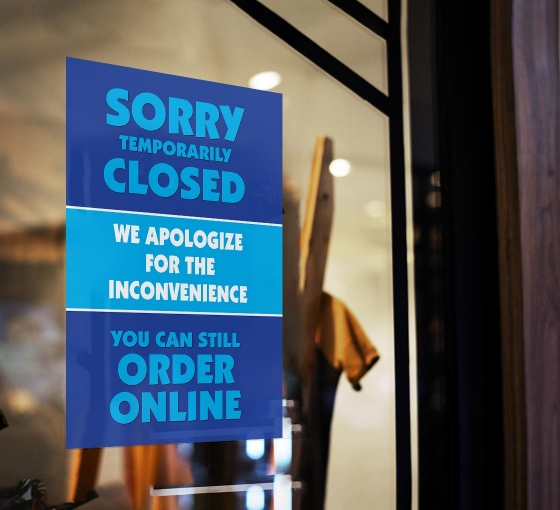 Sorry Temporarily Closed Order Online Window Clings