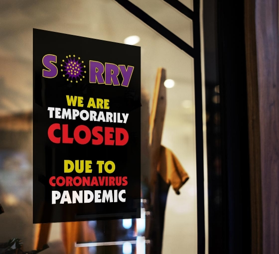 Sorry We are Temporarily Closed Window Clings