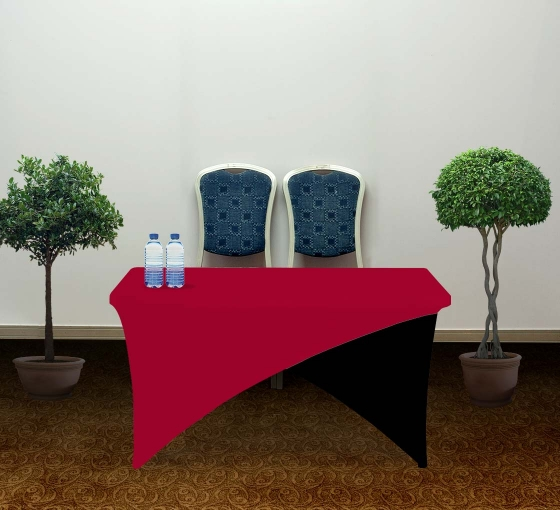 4' Cross Over Table Covers - Red & Black