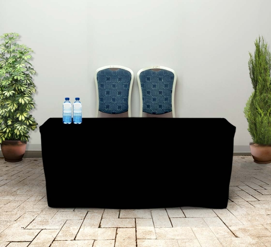6' Fitted Table Covers - Black - Zipper Back