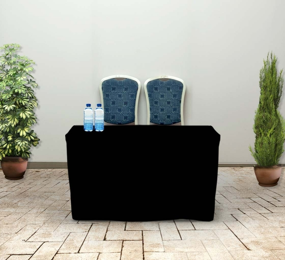 4' Fitted Table Covers - Black - Zipper Back