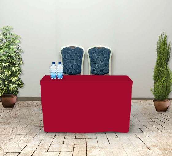4' Fitted Table Covers - Red - Zipper Back