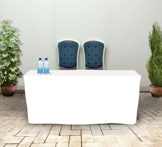 6' Fitted Table Covers - White - Zipper Back