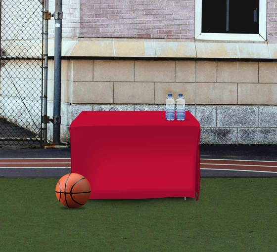 4' Open Corner Table Covers - Red - 4 Sided