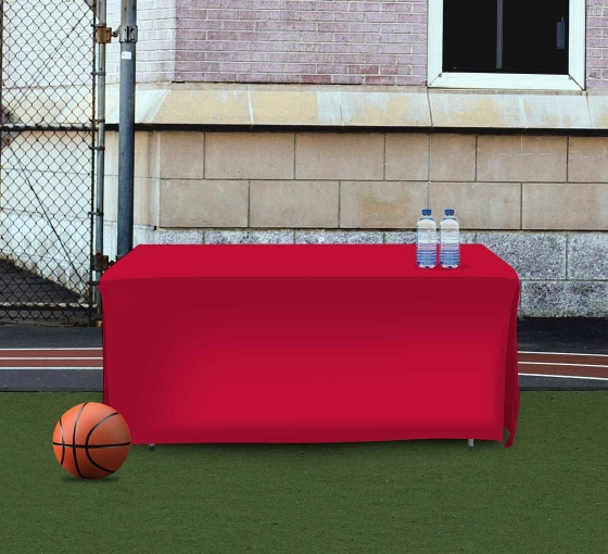 6' Open Corner Table Covers - Red