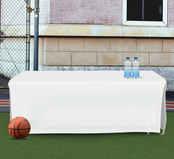 8' Open Corner Table Covers - White - 4 Sided